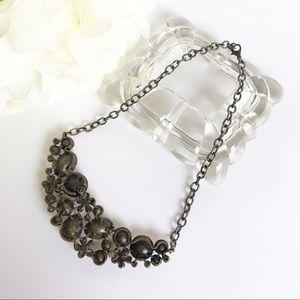 Jewelry - Dark Tone Flower Rhinestone Statement Necklace